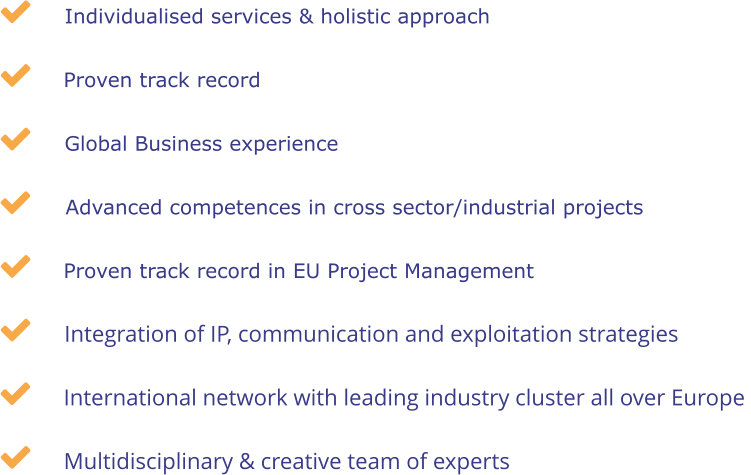 Individualised services & holistic approach International network with leading industry cluster all over Europe  Proven track record  Integration of IP, communication and exploitation strategies Advanced competences in cross sector/industrial projects  Proven track record in EU Project Management Multidisciplinary & creative team of experts Global Business experience        